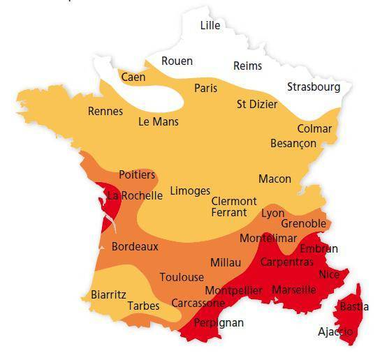 Carte d'ensoleillement en France