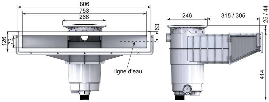 Skimmer troit cumeur a800 abs weltico achat vente for Skimmer piscine design