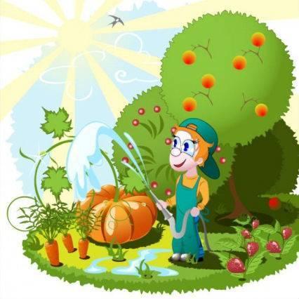 Dessin arrosage jardin / verger