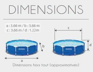 Dimensions Piscine Tubulaire Ronde Prism Frame 366x122 Intex