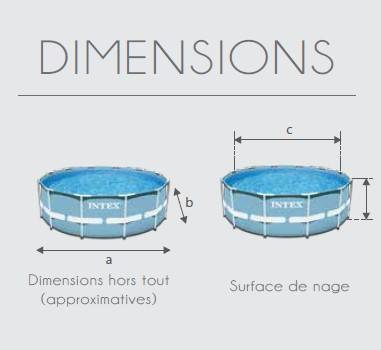 Dimensions piscine tubulaire prism frame 366