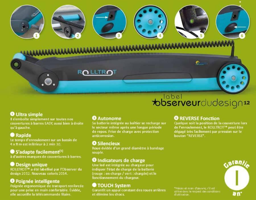 Esquema y descripción del enrollador motorizado para lona de barras RollTrot