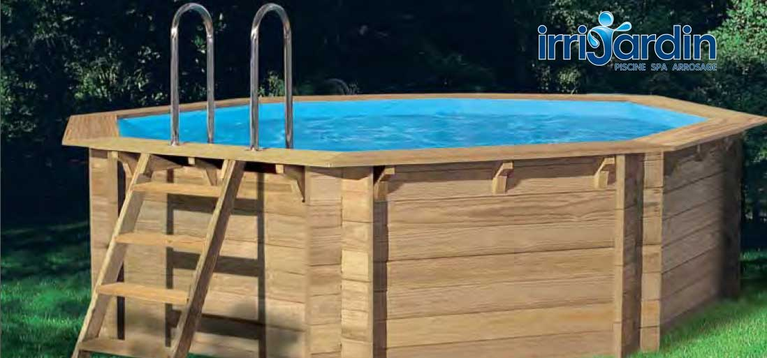 piscine bois hors sol octogonale octo 414 achat vente chez irrijardin. Black Bedroom Furniture Sets. Home Design Ideas