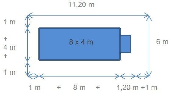Barrière pour piscine 8x4m avec escalier
