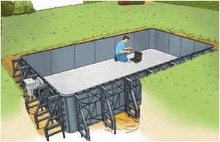 Structure et montage piscine panneaux résine