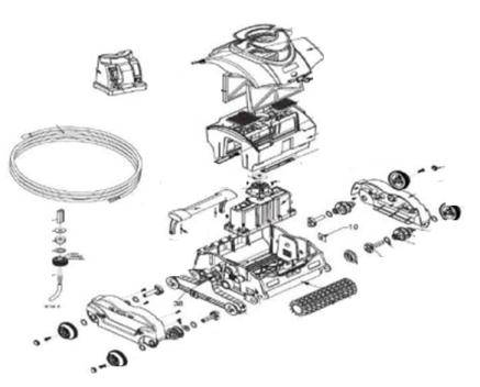 Vue éclatée d'un moteur d'un robot électrique